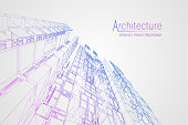 Modern architecture wireframe. Concept of urban wireframe. Wireframe building illustration of architecture drawing.