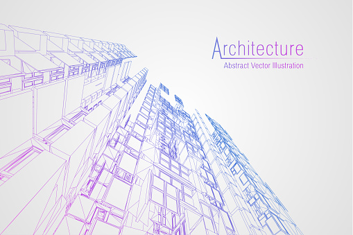 Modern architecture wireframe. Concept of urban wireframe. Wireframe building illustration of architecture CAD drawing clipart