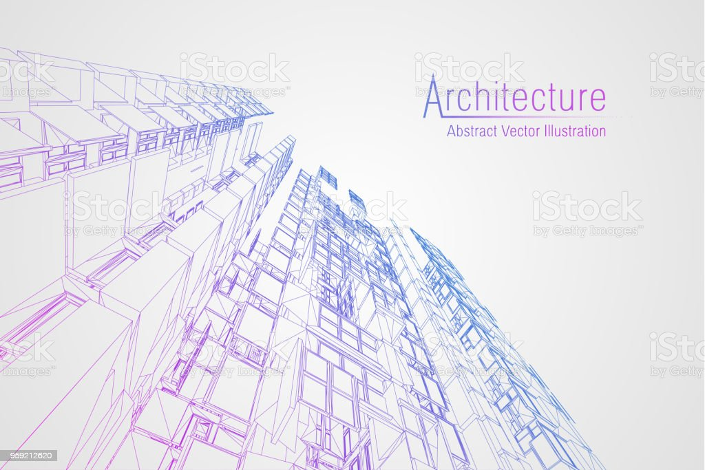 Modern architecture wireframe. Concept of urban wireframe. Wireframe building illustration of architecture CAD drawing vector art illustration