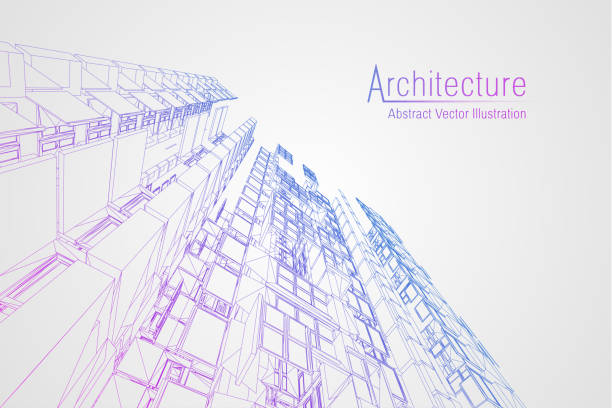 Bекторная иллюстрация Modern architecture wireframe. Concept of urban wireframe. Wireframe building illustration of architecture CAD drawing