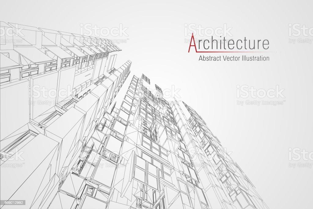 Moderne Architektur Drahtmodell Konzept Der Städtischen Drahtmodell