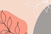 Modern art abstract floral artwork background. Contemporary Abstraction. Fashion Digital Painting. Creative template design with hand drawn plants, leaves and organic shapes. Vector Illustration