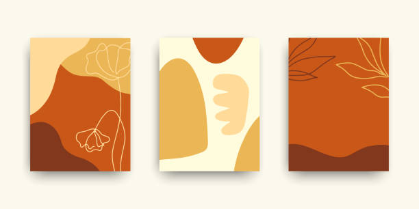Modern art covers templates set. Collage with abstract shapes and one line floral drawings Modern art covers templates set. Collage with abstract shapes and one line floral drawings. Brochures, posters backgrounds, branding design, warm earthy colors, digital painting. Vector design modern art stock illustrations