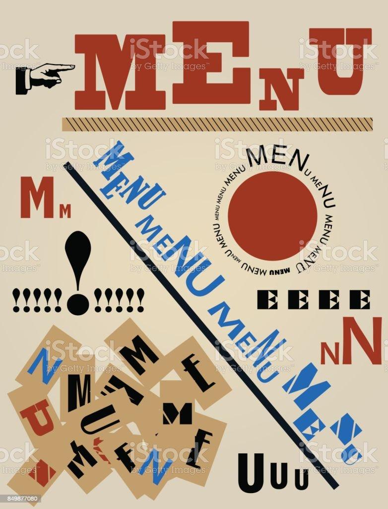 Moderne Kunst Speisekarte, Vektor – Vektorgrafik