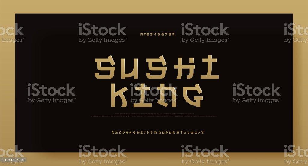 Moderne Asien Gold Alphabet Schriftart Typografie Japan
