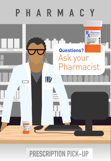Modern asian ethncity Pharmacist Vector illustration of a Modern asian ethncity Pharmacist. Customer service concept with 'Ask your Pharmacist' text. pharmacist stock illustrations