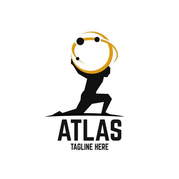 bildbanksillustrationer, clip art samt tecknat material och ikoner med modern atlas-logotyp - strenght men