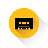Modern audio icon with long shadow, vector illustration