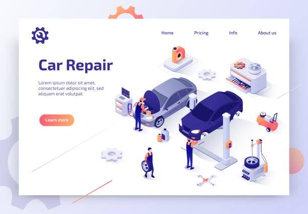 ilustrações, clipart, desenhos animados e ícones de moderna auto oficina isométrico vector site - garage