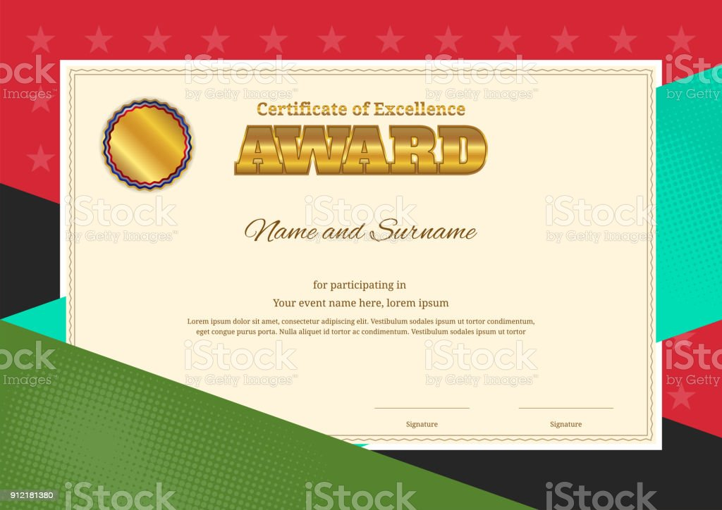 Modern award certificate template with colorful border frame for competition vector art illustration