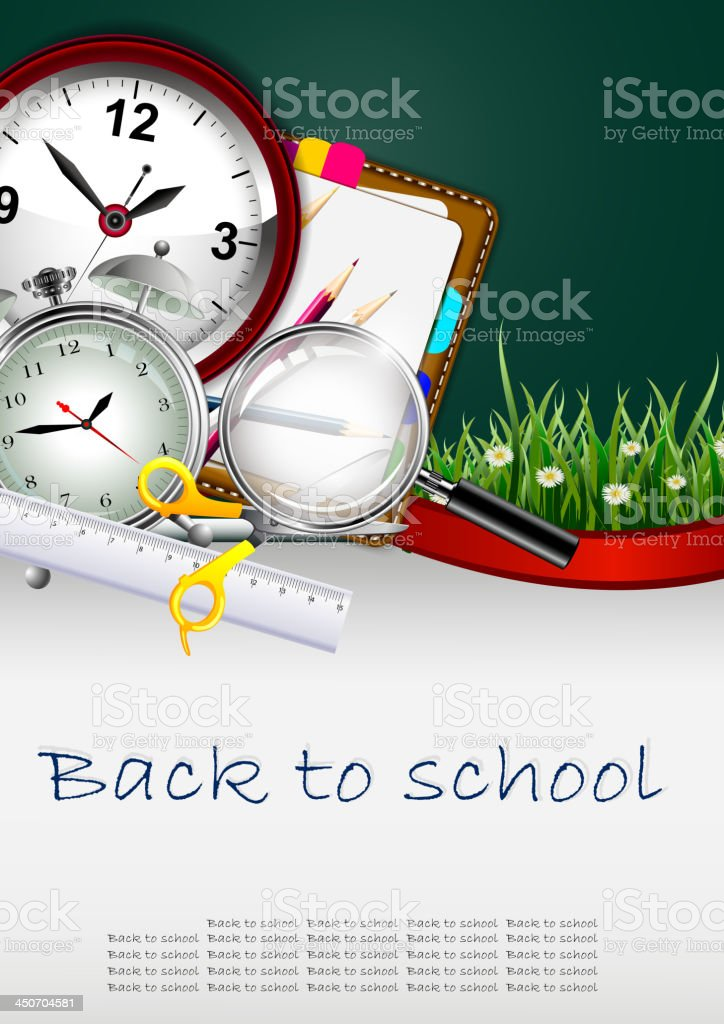Modern Back to school background with beauty grass decoration royalty-free stock vector art