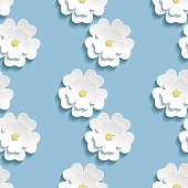 Beautiful trendy romantic background seamless pattern blue with white blossoming 3d flower sakura - japanese cherry tree. Floral stylish modern wallpaper. Vector illustration