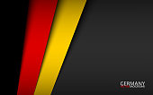 Modern background with German colors and grey free space for your text, Made in Germany, vector overlayed sheets of paper in the look of the German flag