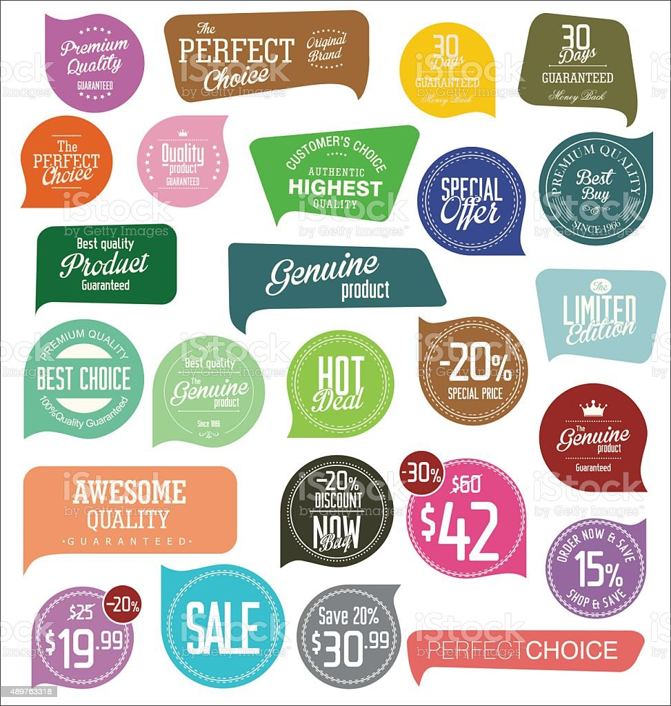 Modern badges collection vector art illustration
