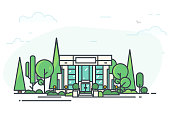 Bank building. Bank or big building in city center. Flat style line vector illustration. Business city center with modern houses. Green park in center of town.