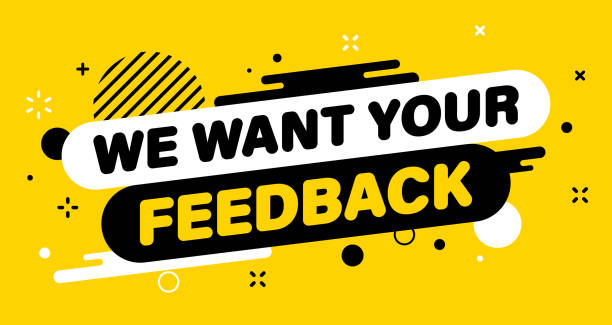 ilustrações, clipart, desenhos animados e ícones de banner moderno importante queremos seu feedback. banner para negócios, marketing e publicidade. ilustração vetorial. - feedback