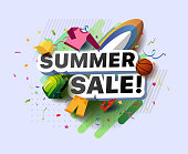 Modern banner of summer sale. Vector illustration of a summer poster with a baseball cap, backpack, shorts, sandal, basketball ball, surfboard and sweater on an abstract background