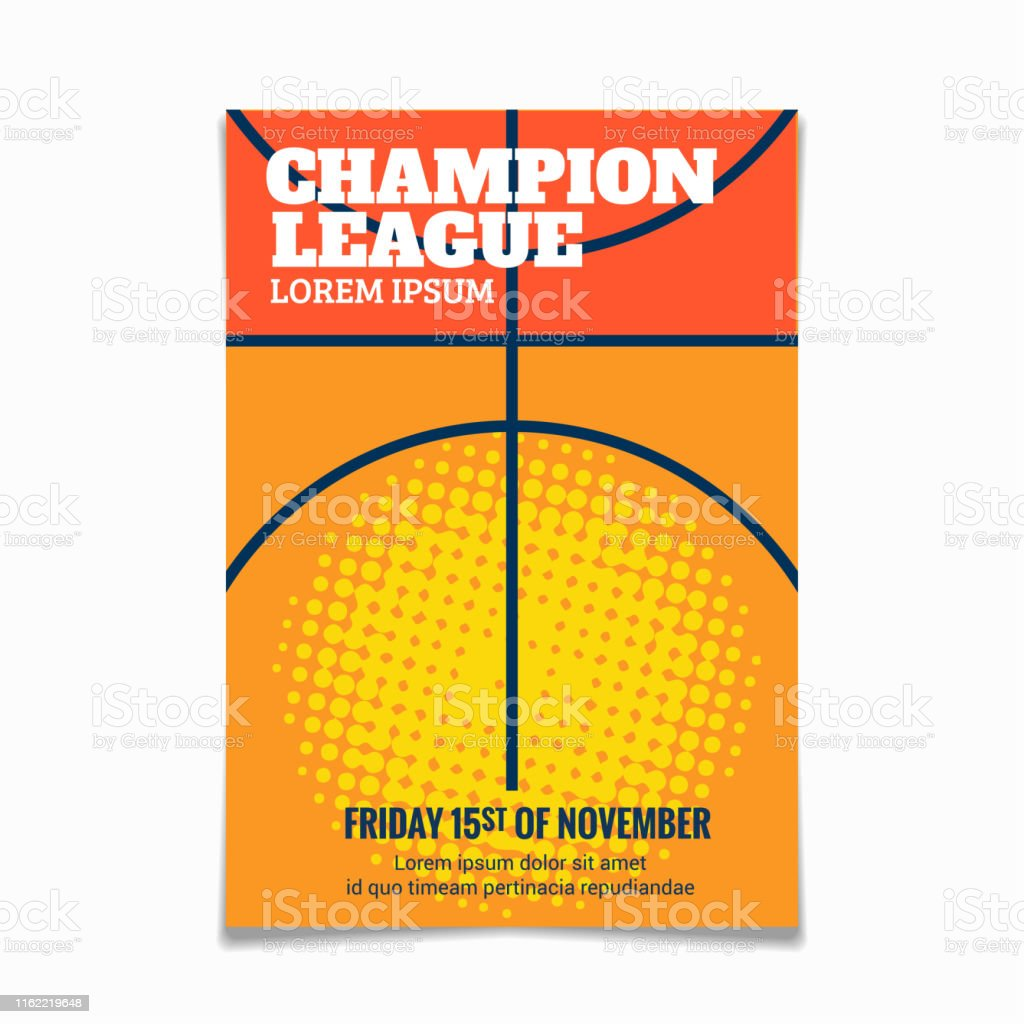 Modern basketball poster template with sample text and background...