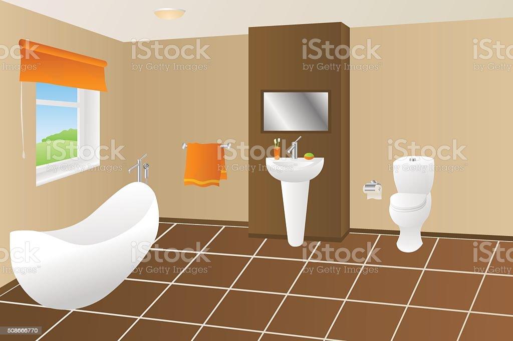 Moderne Badezimmer Beige Braun Orange Handtuch Waschbecken ...