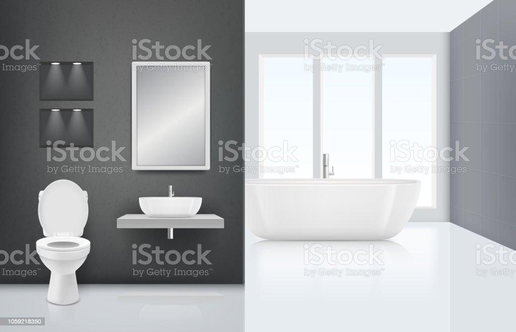 Ilustración de Interior Del Cuarto De Baño Moderno Blanca Y ...