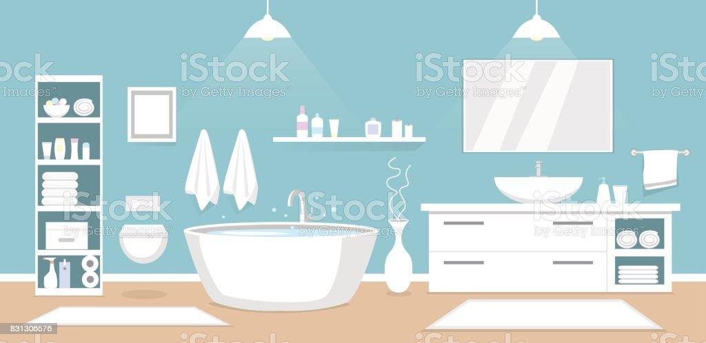Modern bathroom interior vector art illustration
