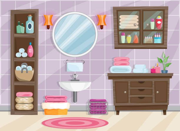 Modern bathroom interior with furniture in flat style. Modern bathroom interior with furniture in flat style. Vector illustration bathroom backgrounds stock illustrations