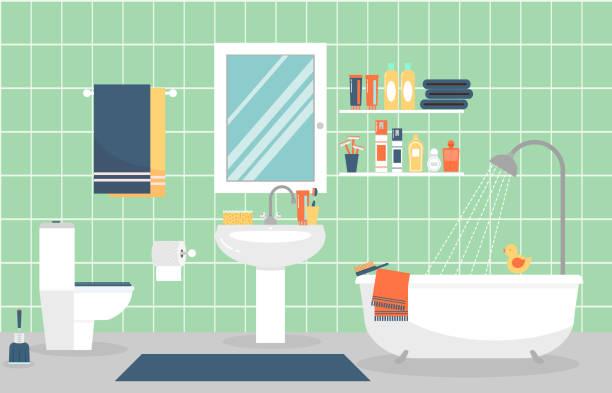 illustrazioni stock, clip art, cartoni animati e icone di tendenza di interno di bagno moderno con mobili in stile piatto. illustrazione vettoriale - bagno