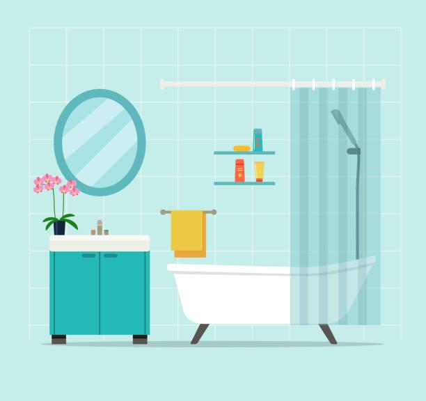 modernes bad interieur mit orchidee. flache vektorabbildung - badezimmer stock-grafiken, -clipart, -cartoons und -symbole