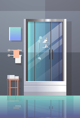 modern bathroom shower cabin furniture no people empty bath room interior design flat vertical