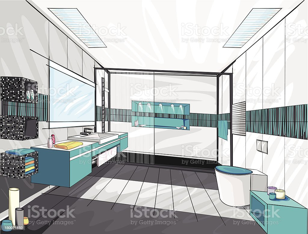 Modern Bathroom Royalty Free Stock Vector Art Amp More Images Of