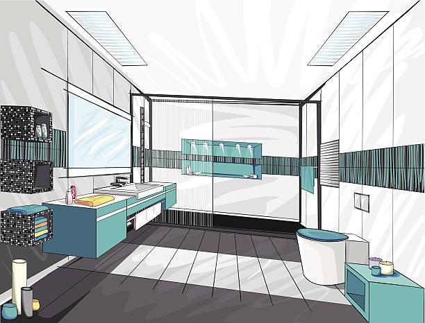 moderne badezimmer. - spiegelfliesen stock-grafiken, -clipart, -cartoons und -symbole