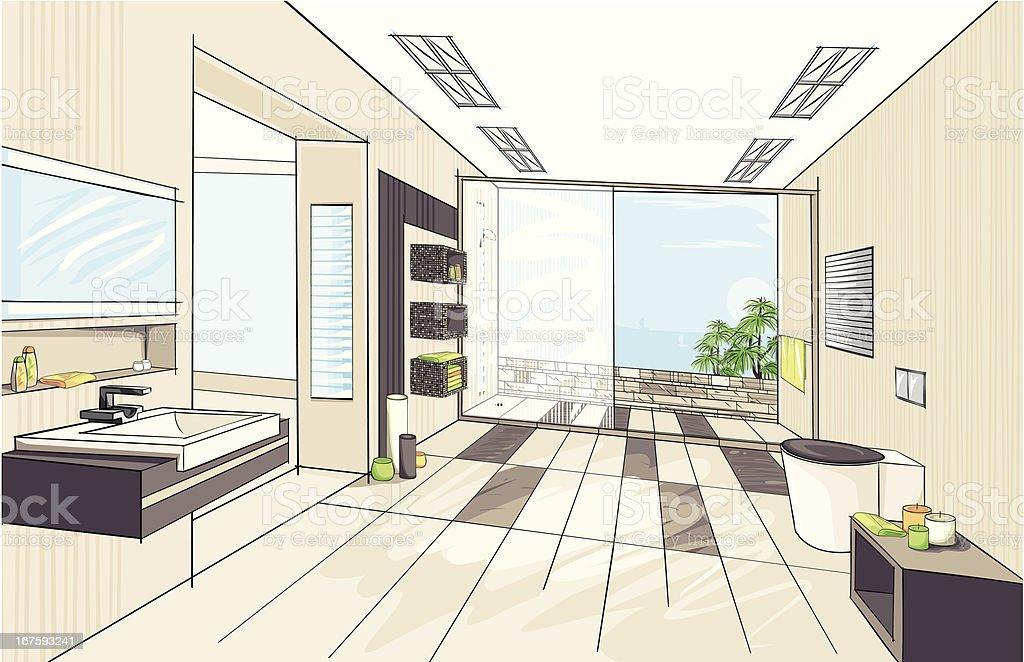 Modernes Badezimmer – Vektorgrafik