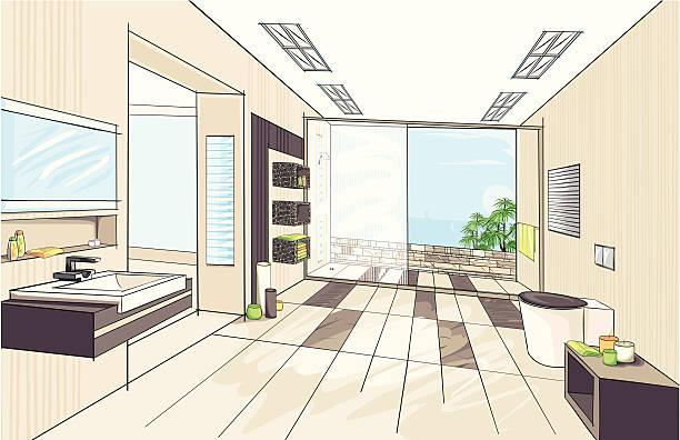 modernes badezimmer - spiegelfliesen stock-grafiken, -clipart, -cartoons und -symbole