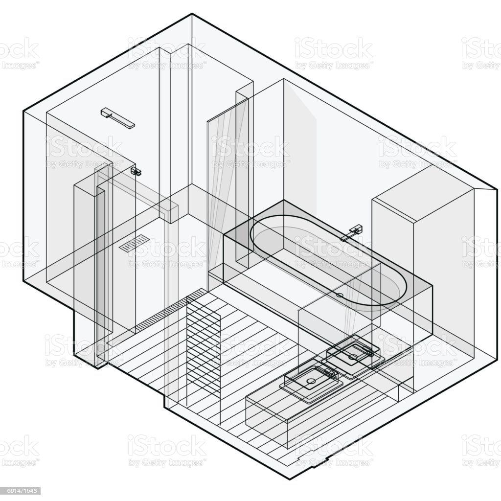 Salle De Bains Moderne Avec Sol En Bois Perspective Isométrique - Perspective salle de bain