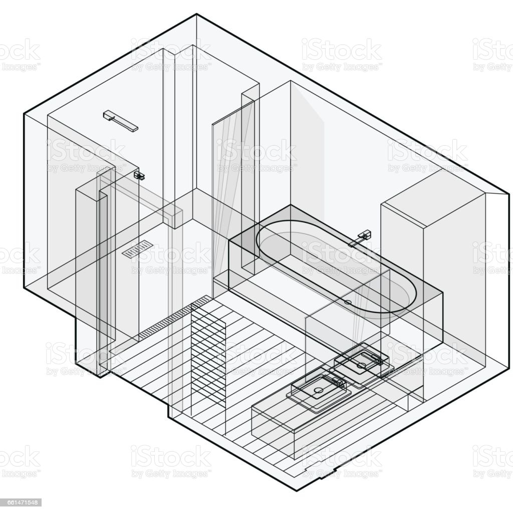 Modern bathroom with wooden floor, isometric perspective. Outlined shower enclosure. vector art illustration