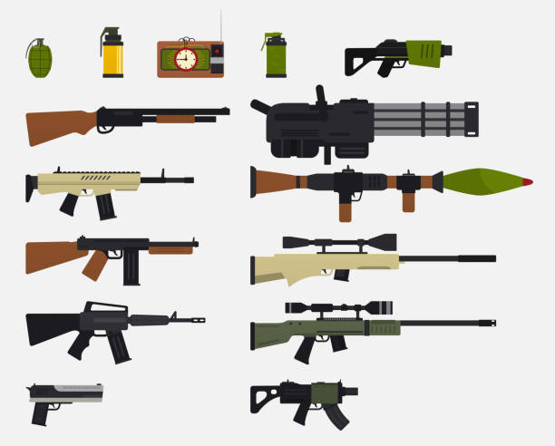 Modern battle weapons. Set of military weapons, automatic firearms, rifles, shotgun, revolver, grenades, explosive device. Modern battle weapons. Set of military weapons, automatic firearms, rifles, shotgun, revolver, grenades, explosive device. weapon stock illustrations