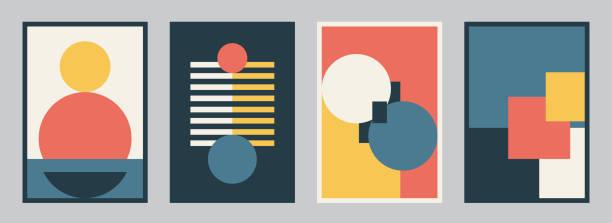 bildbanksillustrationer, clip art samt tecknat material och ikoner med modern bauhaus designuppsättning vektor bakgrund. enkelt mönster i trendig platt stil med gula, blå, röda, vita och svarta färg geometriska former. minimal abstrakt konst - konststilar