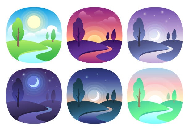 illustrazioni stock, clip art, cartoni animati e icone di tendenza di modern beautiful landscape with gradients. sunrise, dawn, morning, day, noon, sunset, dusk and night icon. sun time vector icons set - mattina