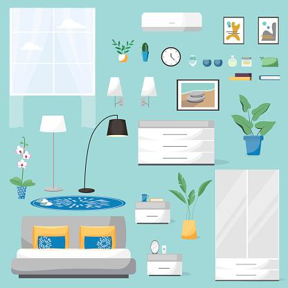 Modern bed room interior. Vector banner. Large detailed interior set. Cozy bed room. Flat vector illustration
