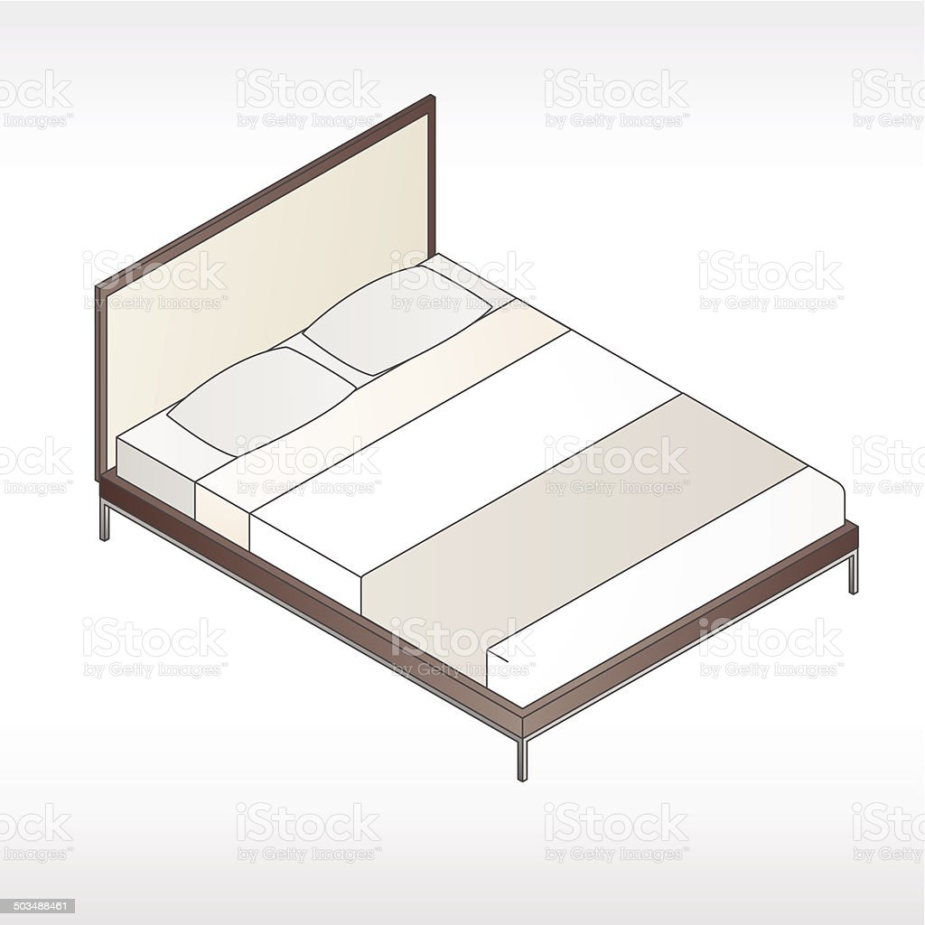 Modern Bed With Headboard Illustration vector art illustration
