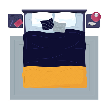Modern bed with no people semi flat RGB color vector illustration. Bedroom items, sleeping place with accessories and fashion linens isolated cartoon object on white background
