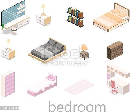istock modern bedroom design in isometric style. Flat 3D 846686000