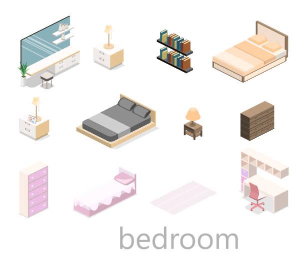 modernes schlafzimmer design in isometrische stil. flache 3d - bodenbetten stock-grafiken, -clipart, -cartoons und -symbole