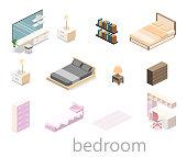 modern bedroom design in isometric style. Flat 3D