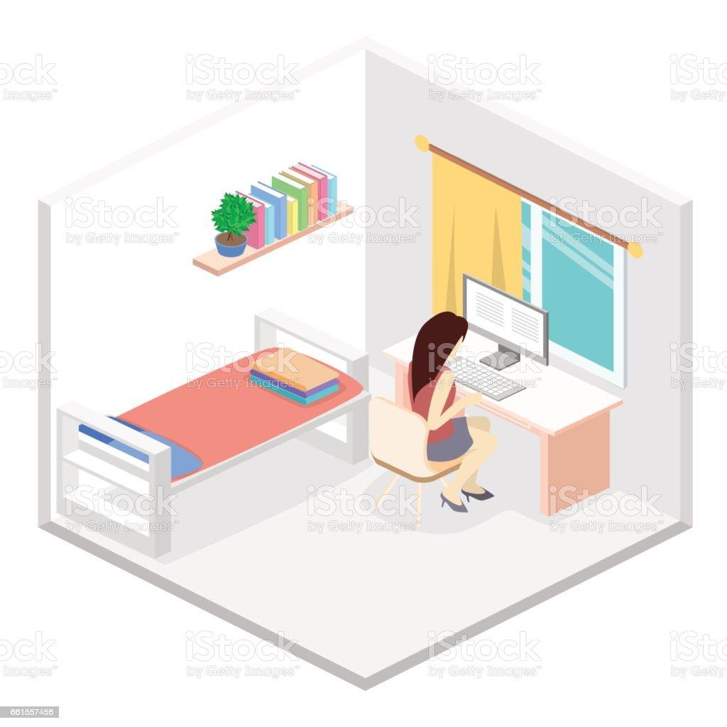 Modernes Schlafzimmer Design In Isometrische Stil Stock Vektor Art ...