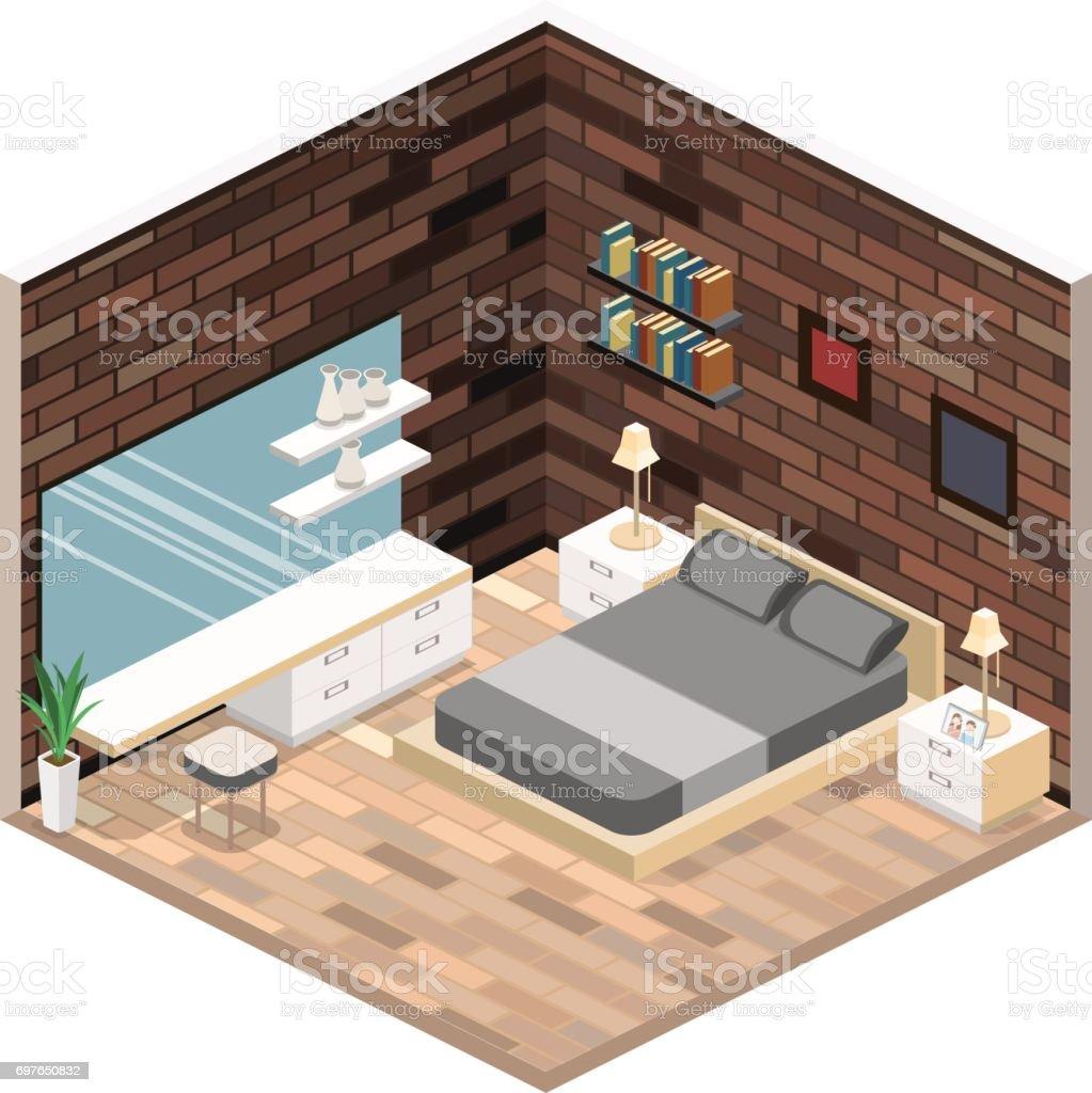 Modern Bedroom Design In Isometric Style. Modern Bedroom Design In  Isometric Style   Arte Vetorial