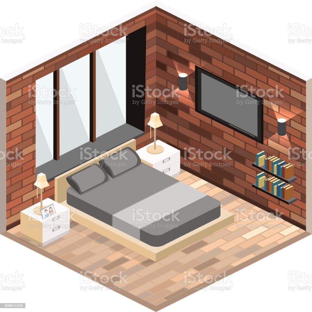 Modernes Schlafzimmer Design In Isometrische Stil Vektor ...