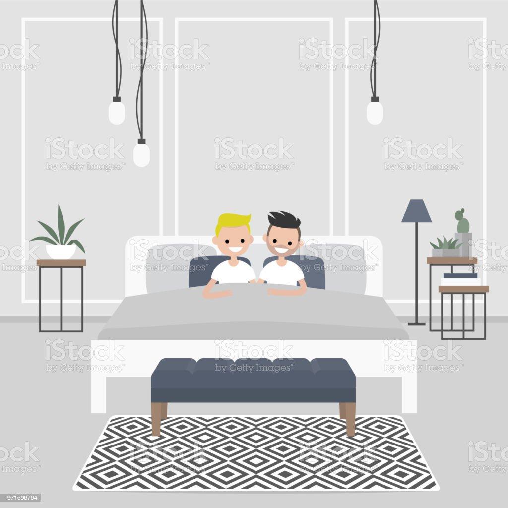 Moderne Schlafzimmer Innenraum Paar Der Jungen Erwachsenen In Dem .