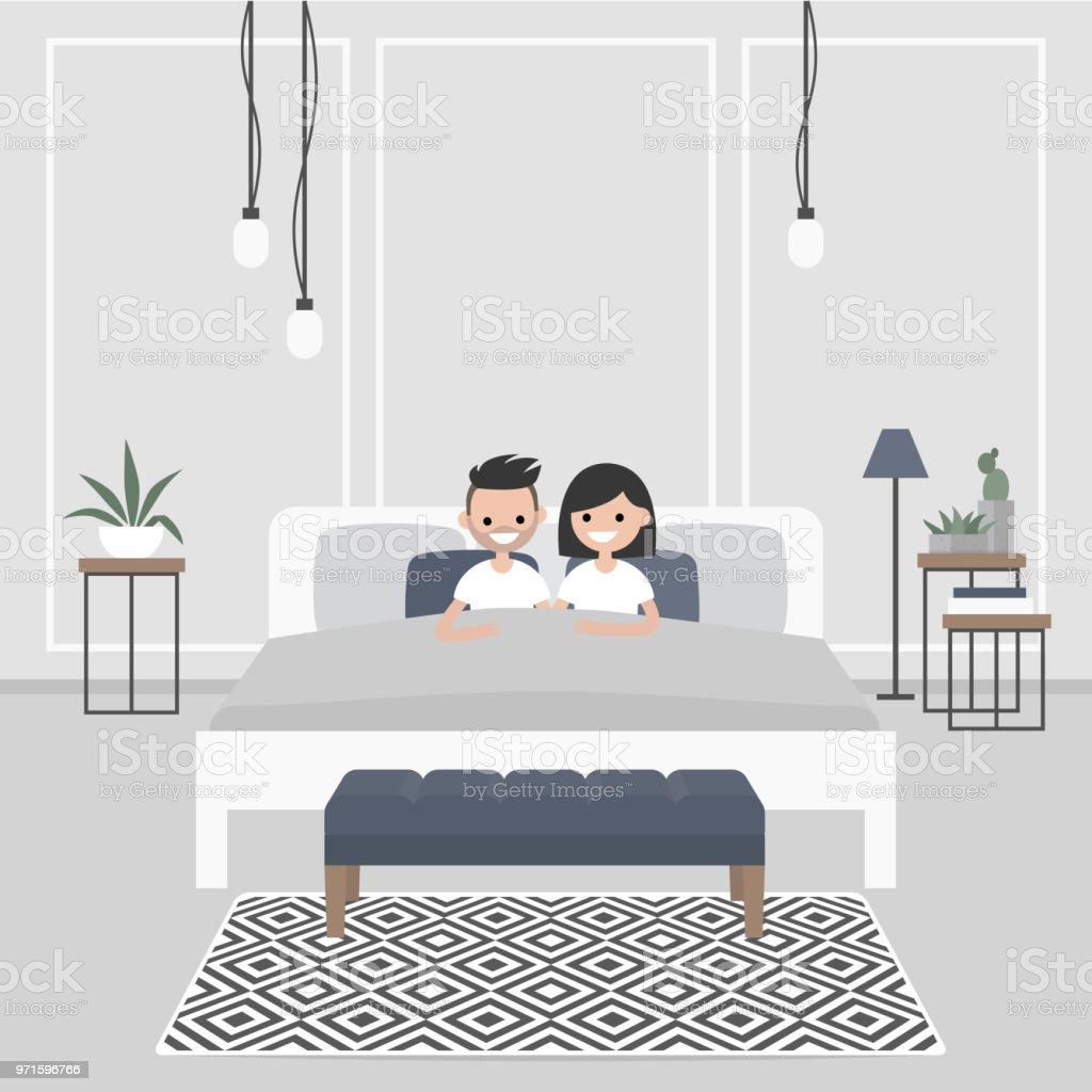 Intérieur De Chambre À Coucher Moderne Couple De Jeunes ...