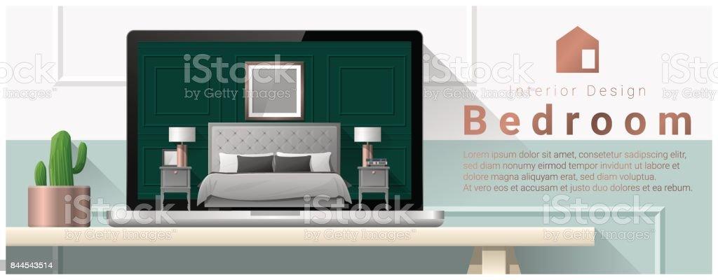 Modern bedroom interior design background , vector , illustration vector art illustration
